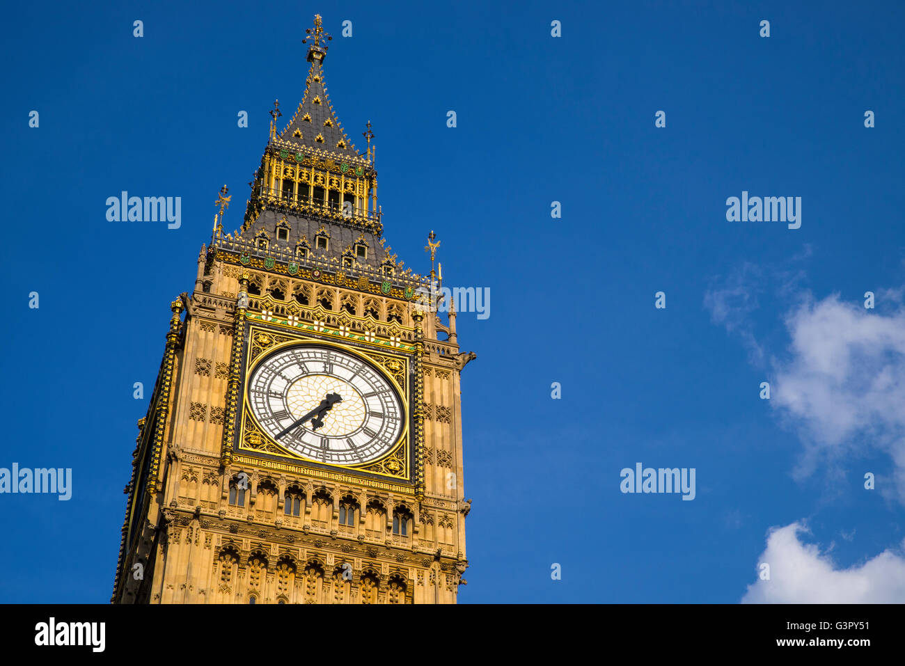 The Elizabeth Tower, which contains the iconic bell named Big Ben, at the Houses of Parliament in London. - Stock Image