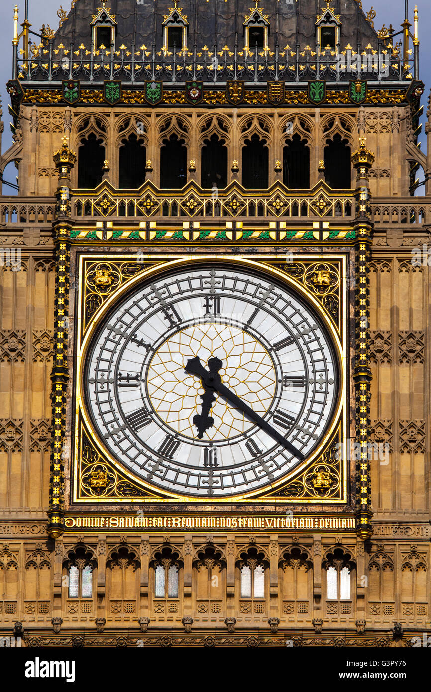 The clock face on the iconic Elizabeth Tower which is home to the historic bell named Big Ben. - Stock Image