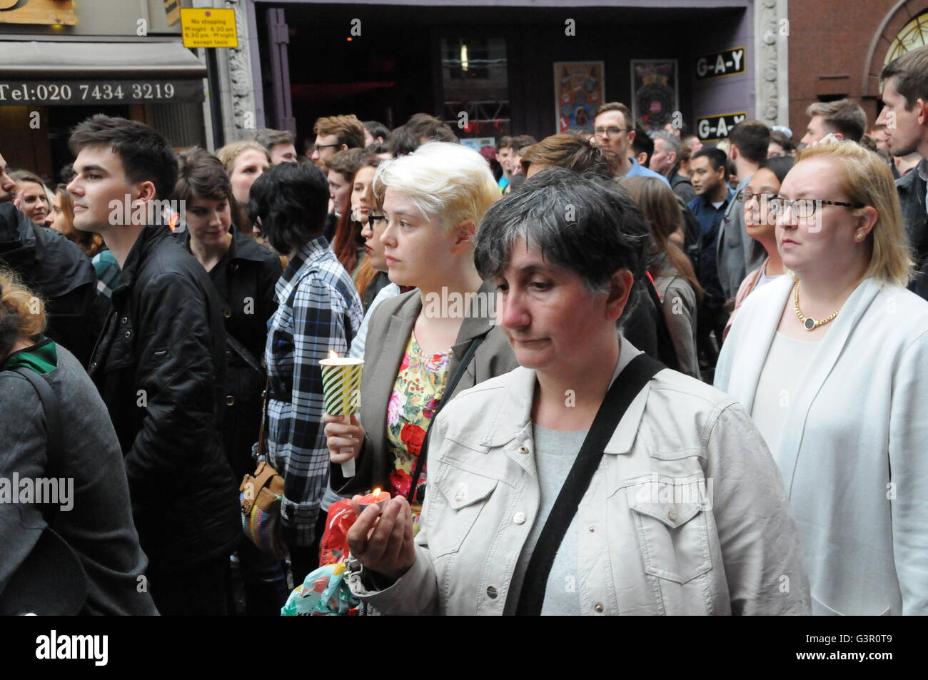 Soho, the centre of London's Gay community, came out in support for the victims of a homophobic attack, at The - Stock Image