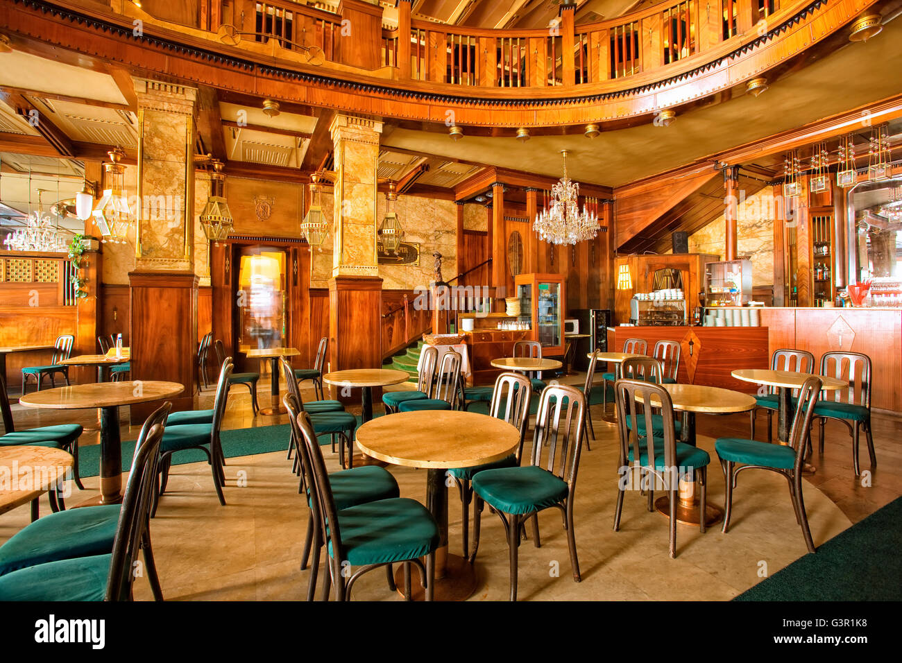 Europa cafe in Wenceslas square in Prague - Stock Image