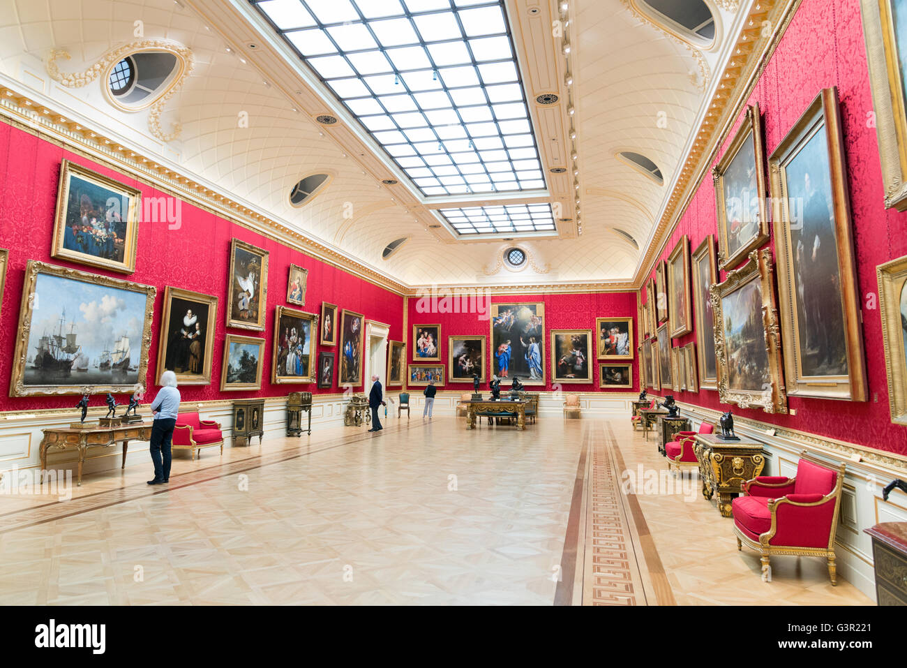 The Great Gallery in the Wallace Collection art gallery, London, England, UK - Stock Image