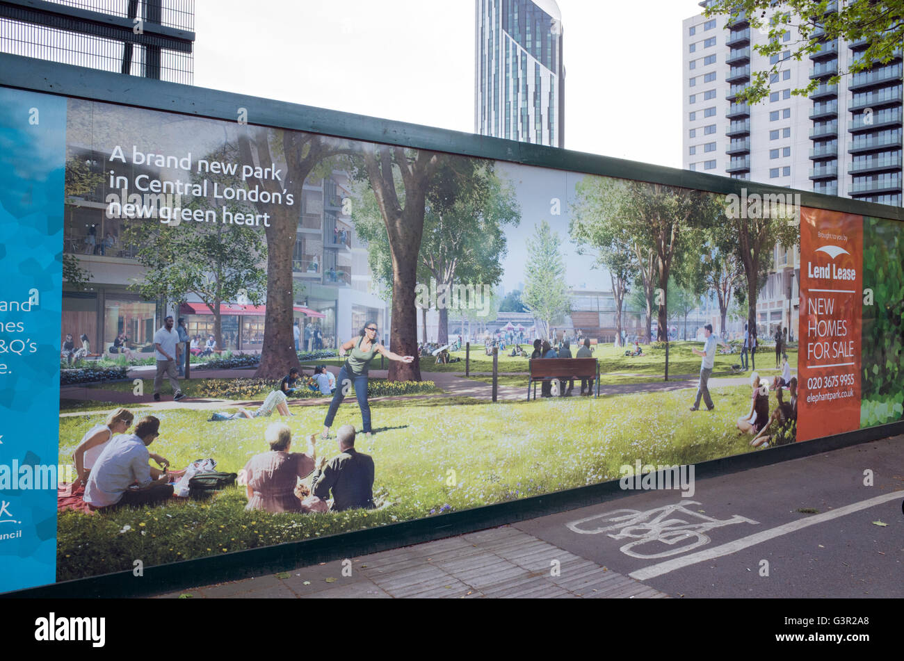 CGI of a new housing development on panel boards surrounding construction site at Elephant and Castle, London, UK - Stock Image