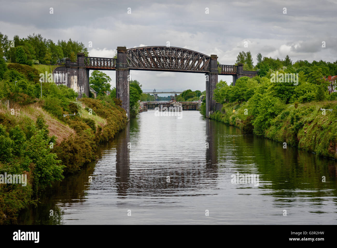 The Thelwall Viaduct is a steel composite girder viaduct in  Lymm, Warrington, England. - Stock Image