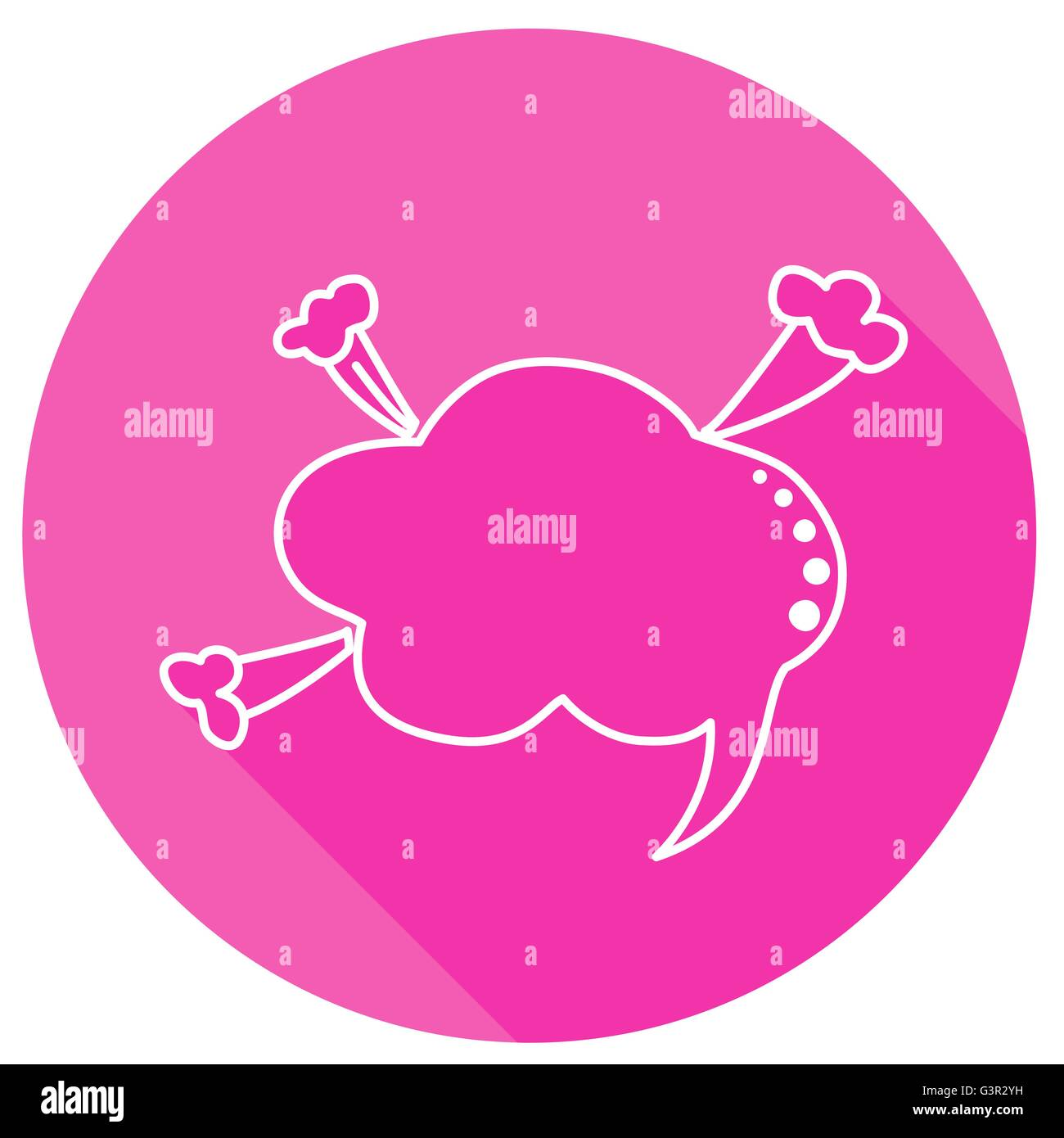 Speech bubbles in pink round with shadow in thin line style - Stock Image