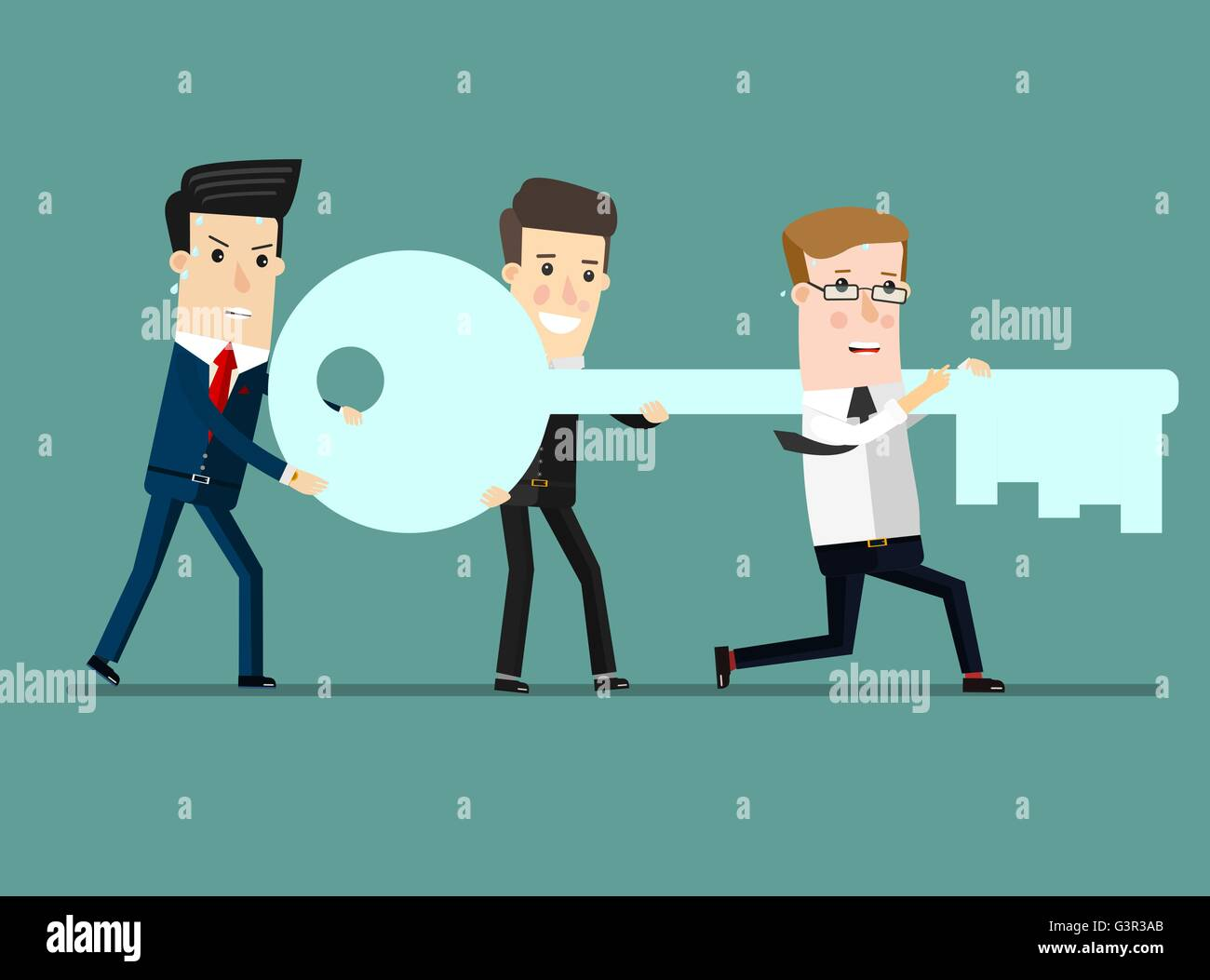 Flat design vector illustration concept of team work. Businessman and businesswoman go to the door with a key. - Stock Vector