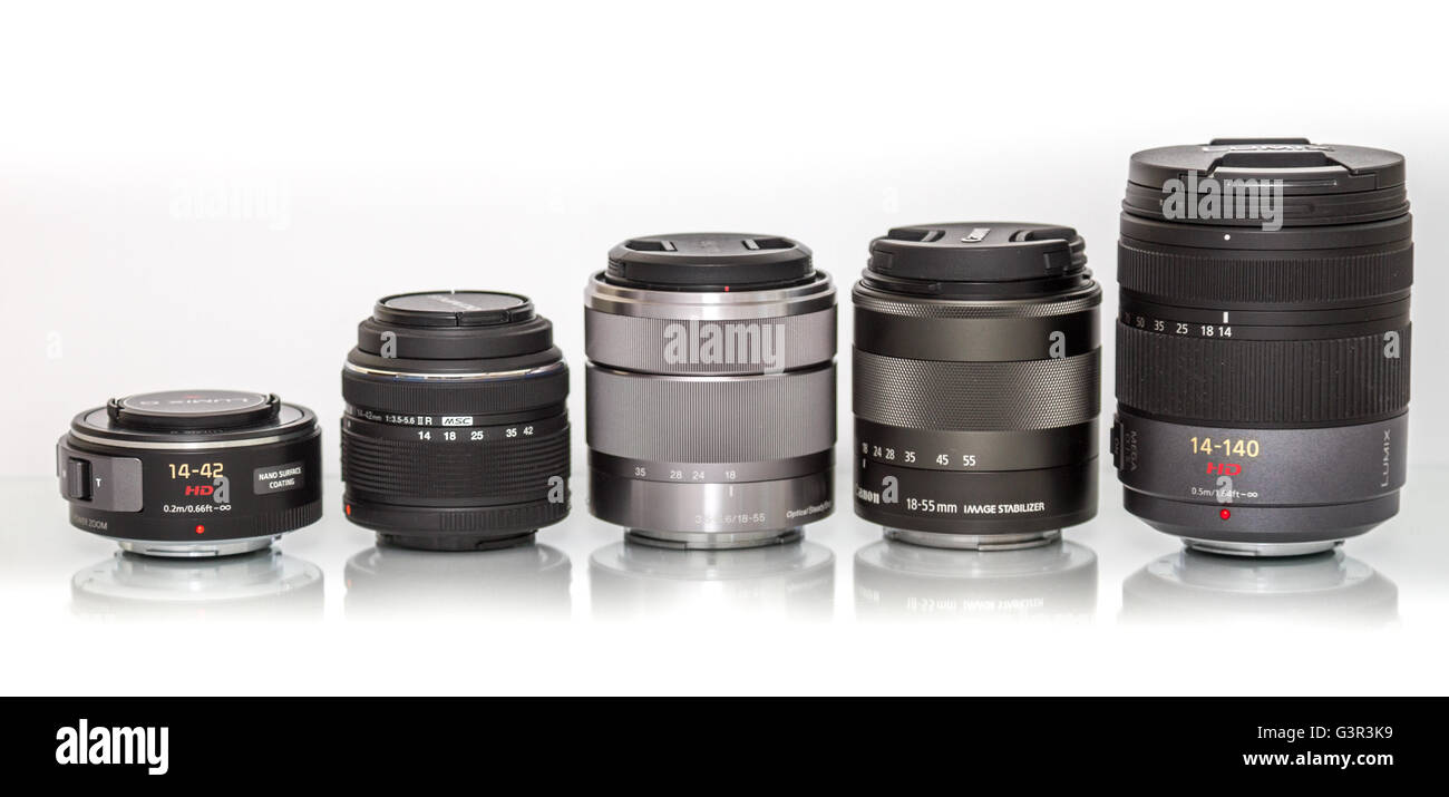 Stock Photo - Various Panasonic lenses sorted by size - Stock Image