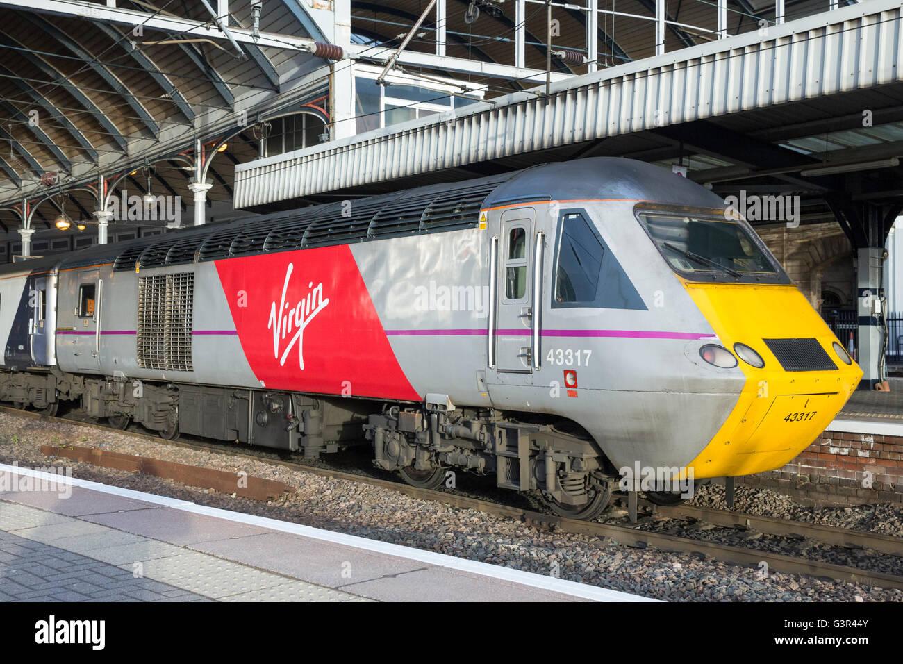 Virgin Trains East Coast 43317 sits on Platform 2 at Newcastle Central Station - Stock Image