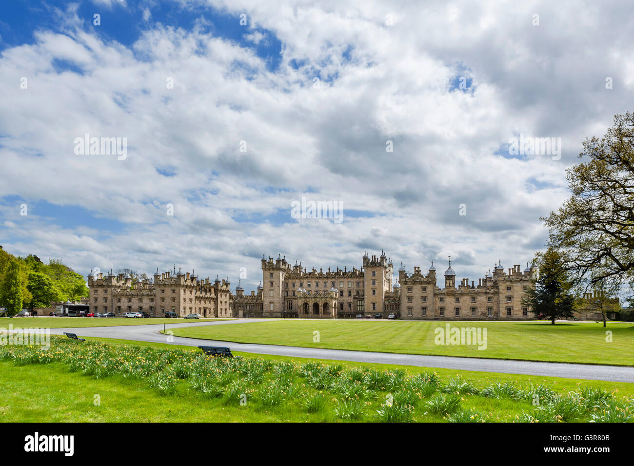 Front of Floors Castle, seat of the Duke of Roxburghe, Kelso, Scottish Borders, Scotland, UK - Stock Image