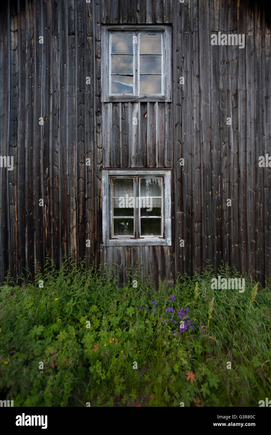 Sweden, Dalarna, Orsa Finnmark, Facade of wooden house - Stock Image