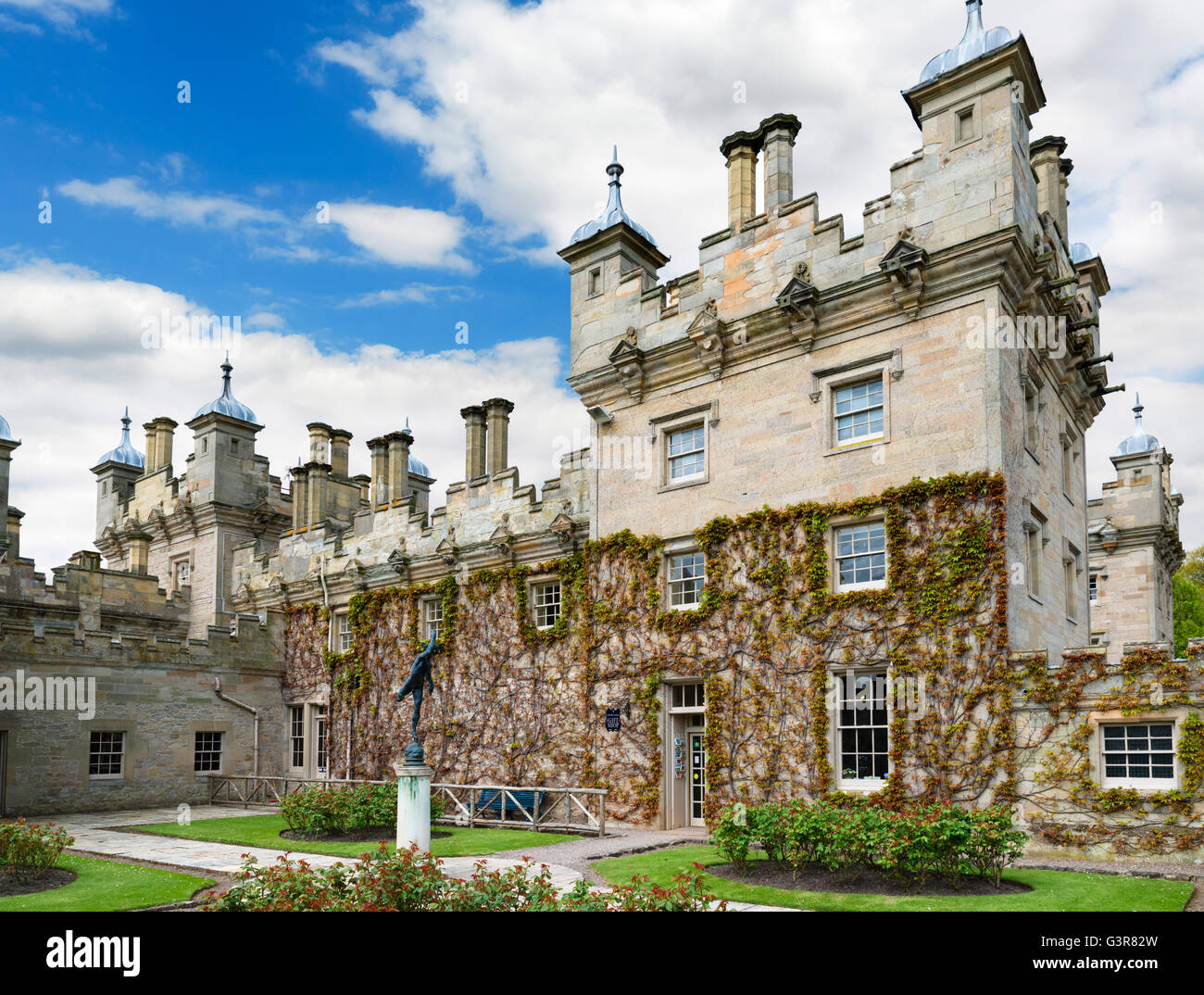Looking towards the Gift Shop at Floors Castle, seat of the Duke of Roxburghe, Kelso, Scottish Borders, Scotland, - Stock Image