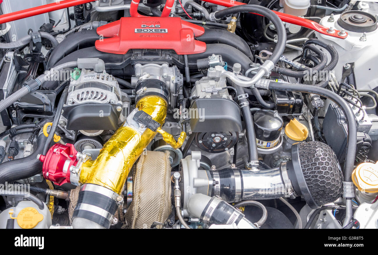A Toyota Boxer D-4S Engine Modified In A Toyota Manufactured Scion FR-S Sold In Canada, Subaru Make The Engine - Stock Image