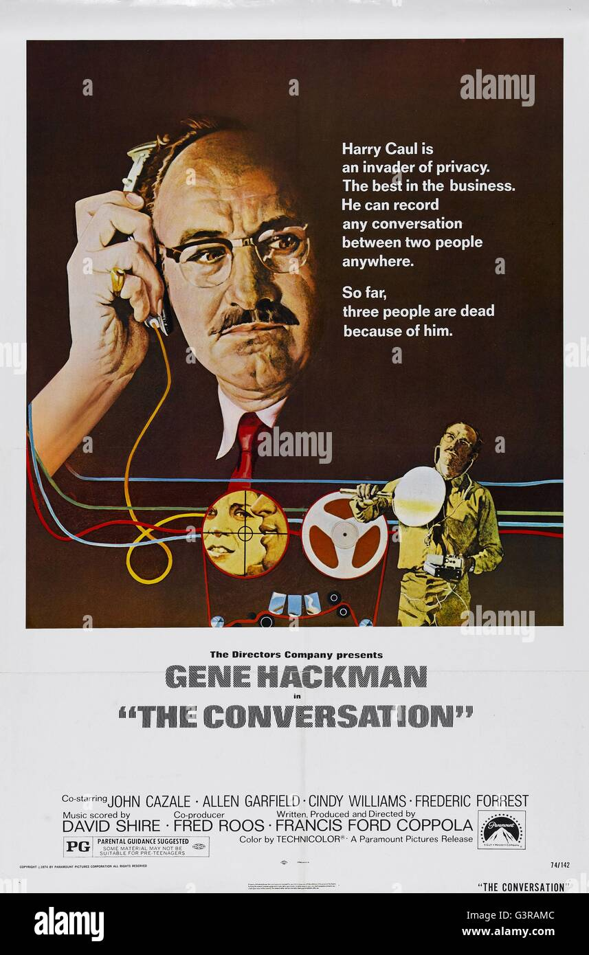 The Conversation  Year : 1974 USA Director : Francis Ford Coppola Gene Hackman   Movie poster (USA) - Stock Image