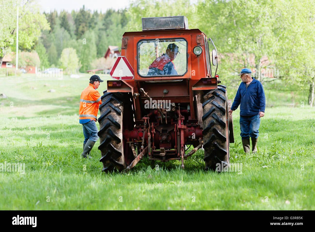 Sweden, Vastmanland, Bergslagen, Hallefors, Farmer driving tractor in field - Stock Image