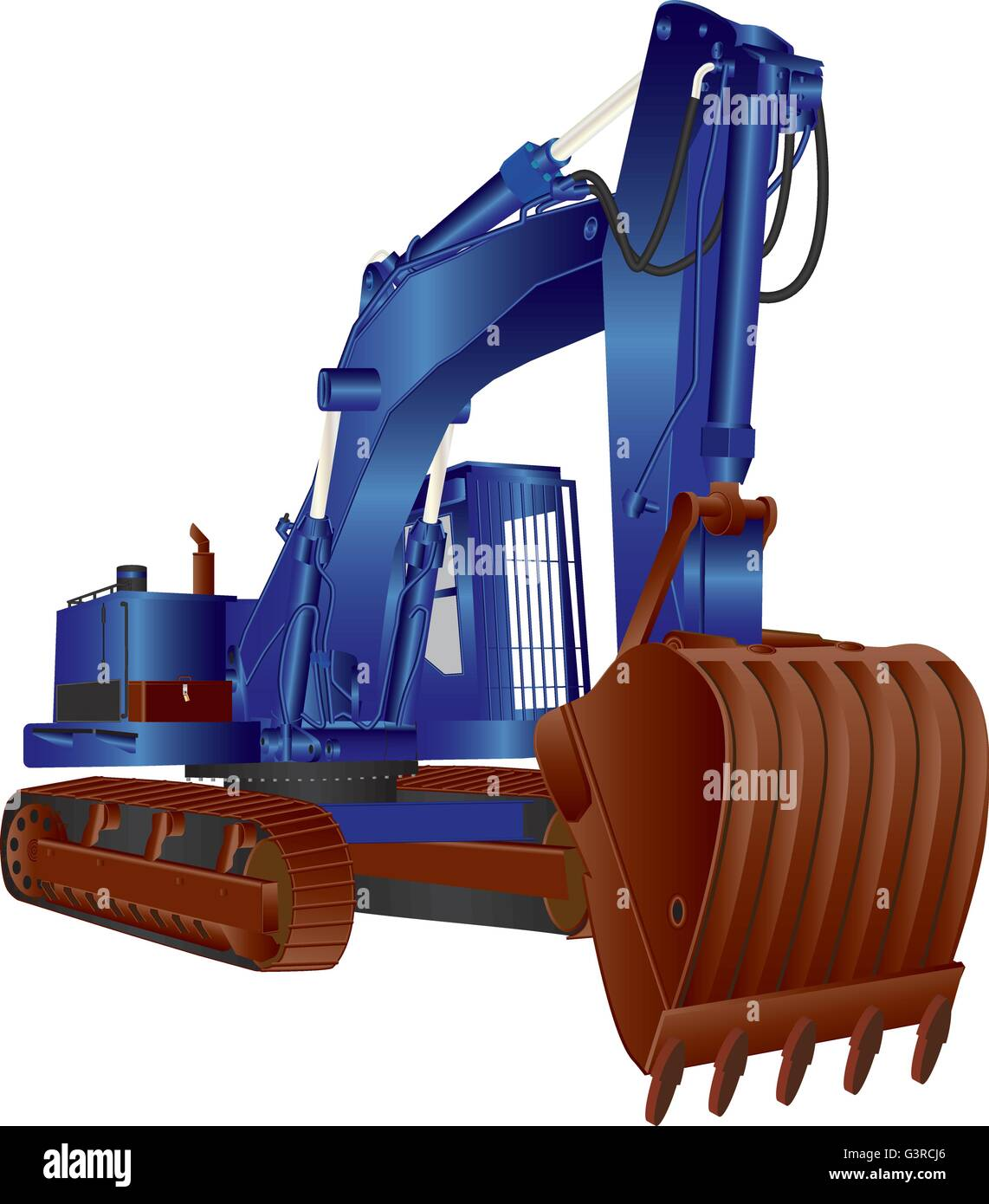 A Heavy Blue Tracked Excavator isolated on white - Stock Vector