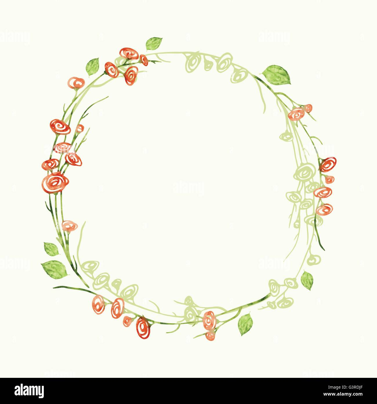 Vector Watercolor Round Floral Frame Hand Draw Romantic Herbal Border