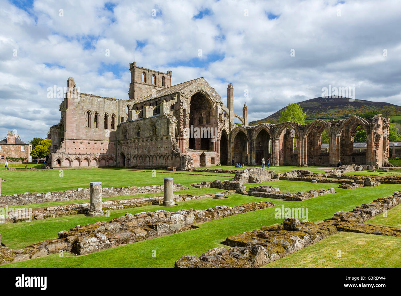 Ruins of Melrose Abbey (St Mary's Abbey), a Cistercian monastery founded in 1136 in Melrose, Scottish Borders, - Stock Image