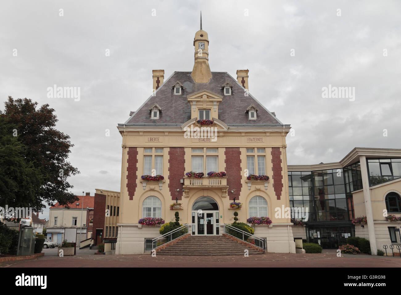 Loos town hall, Loos, Pas de Calais, France. - Stock Image