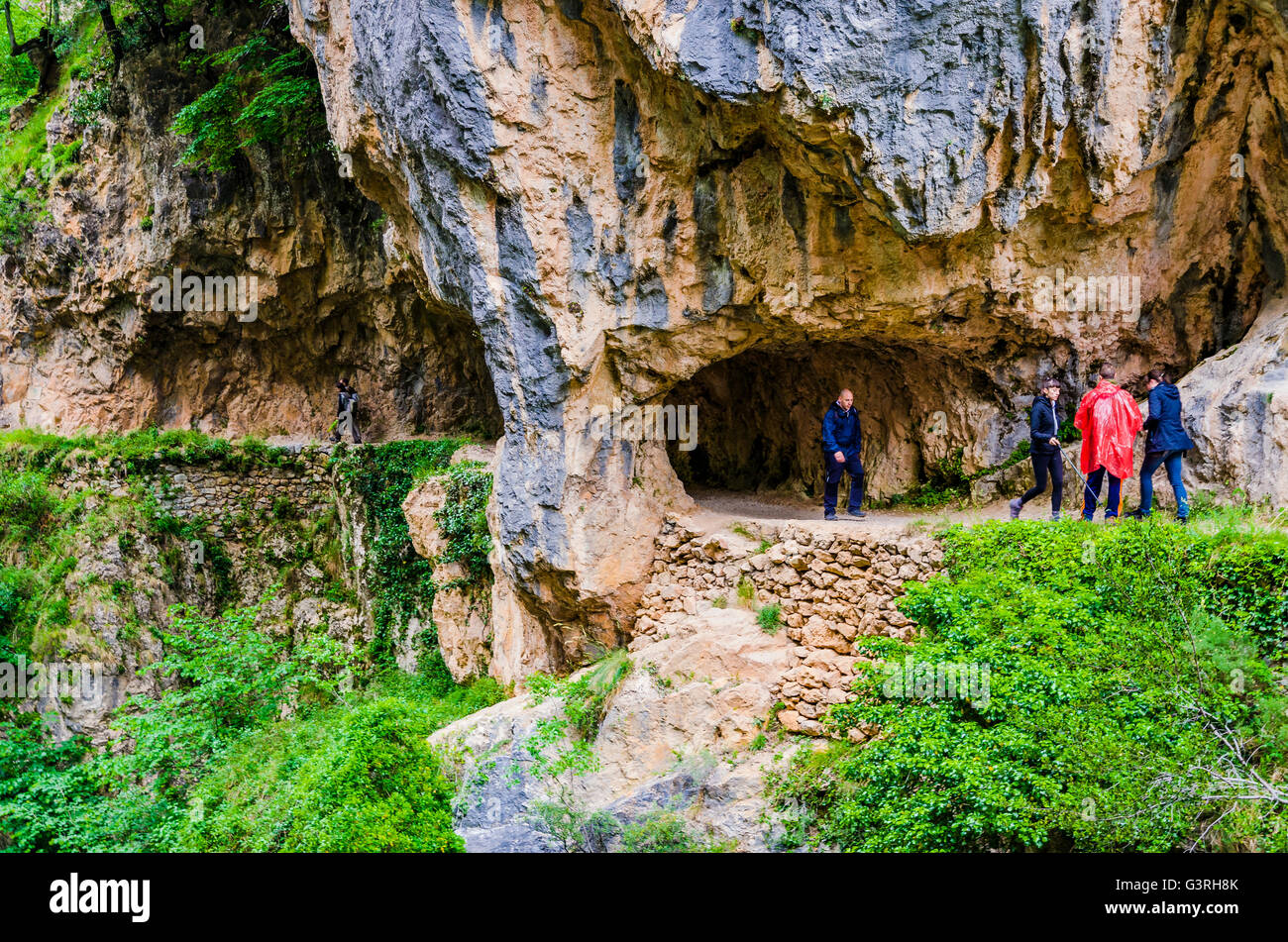 The Cares Trail, Ruta del Cares, is one of the most popular treking paths within the Picos de Europa - Stock Image