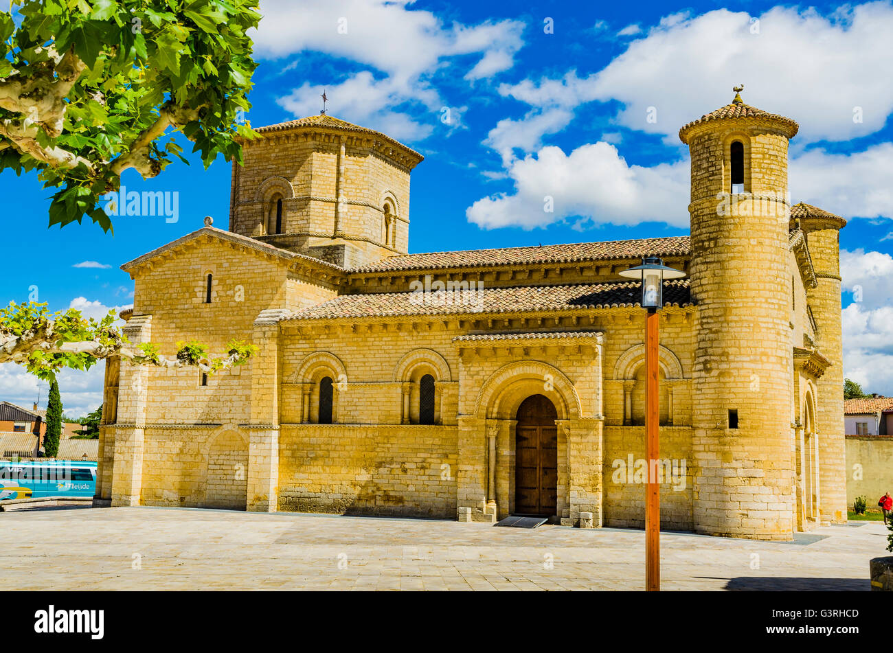 Church of San Martín de Tours, built in the 11th century in Romanesque style, It is located on the Way of St. - Stock Image