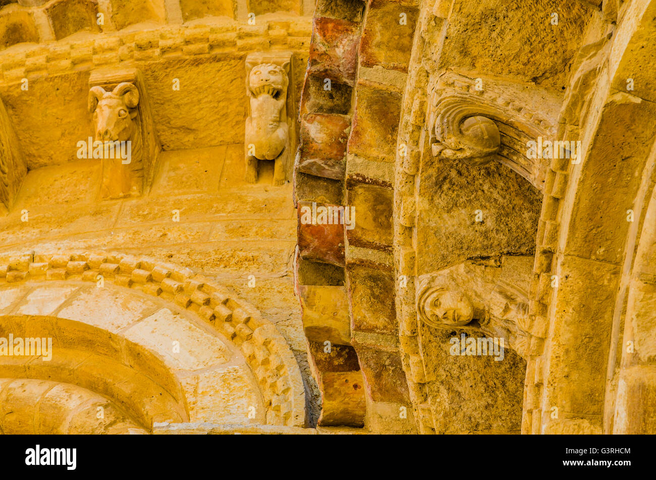 Detail, Church of San Martín de Tours, built in the 11th century in Romanesque style, It is located on the - Stock Image