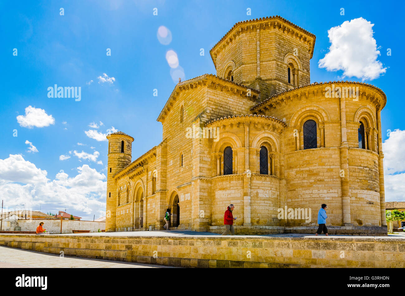 Church of San Martín de Tours, built in the 11th century in Romanesque style, It is located on the Way of St. James Stock Photo