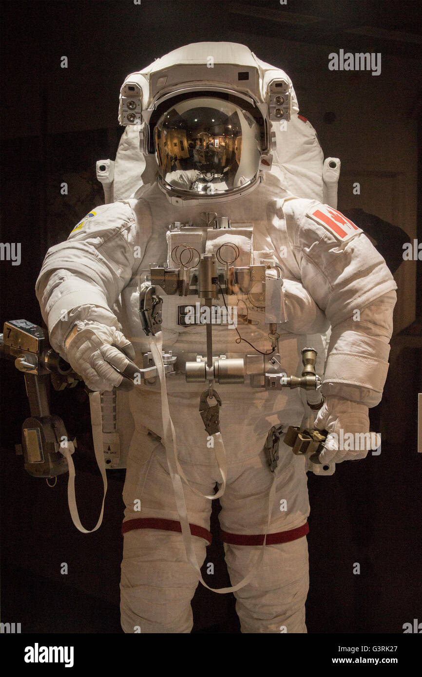 Space suit worm by Canadian Astronaut on display at the Canadian Aviation and Space Museum in Ottawa, Ontario, Canada - Stock Image