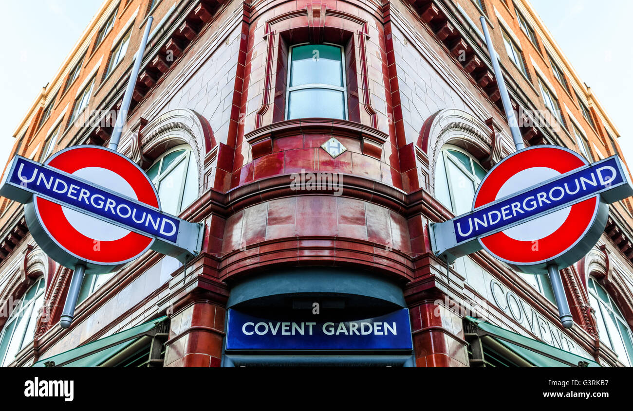 London, UK - June 6, 2016 - Covent Garden station and iconic signs for the London's underground transportation system. - Stock Image
