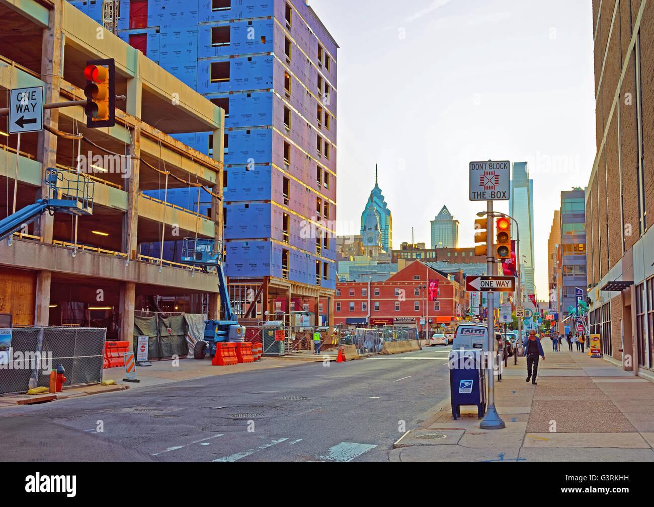 Philadelphia, USA - May 4, 2015: Sunset in the City Center of Philadelphia, Pennsylvania, USA. Tourists in the street. Stock Photo