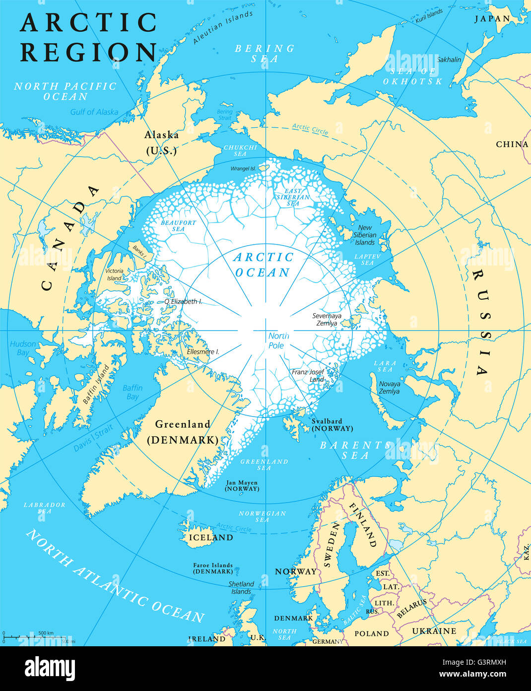 arctic region map with countries capitals borders rivers and lakes arctic ocean