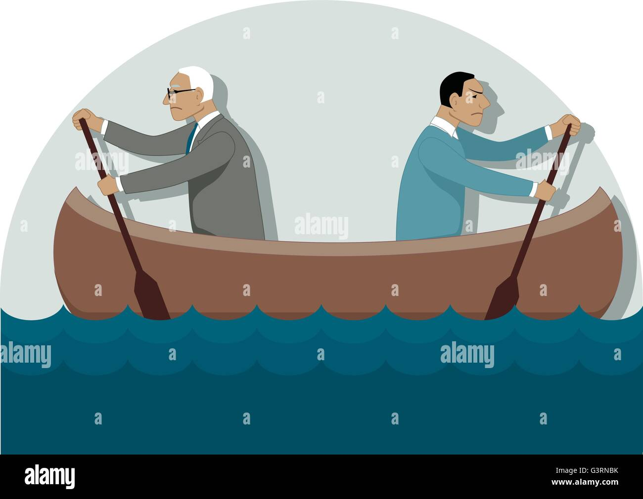 Two businessmen, one young and one older, rowing in the different directions in a canoe - Stock Vector
