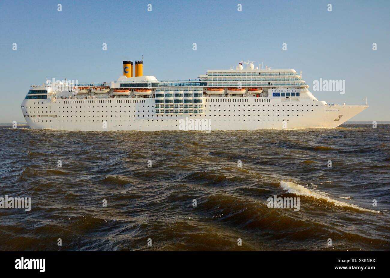 Russia. Costa Line ocean cruise ship Costa Romantica outbound from Saint Petersburg in the Gulf of Finland. Summer - Stock Image