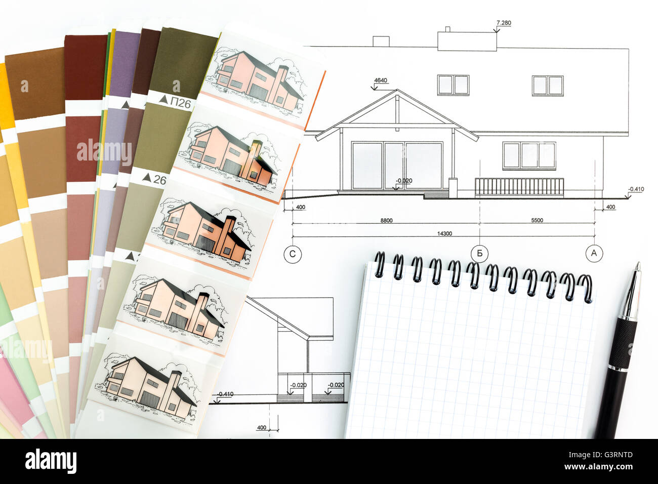 Blueprint of architectural drawing with notepad and color samples blueprint of architectural drawing with notepad and color samples malvernweather Image collections