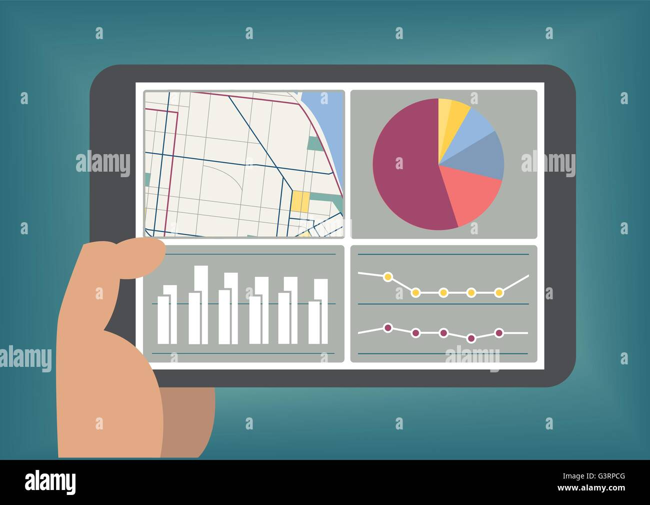 Big data and analytics dashboard displayed on tablet screen as vector illustration - Stock Image