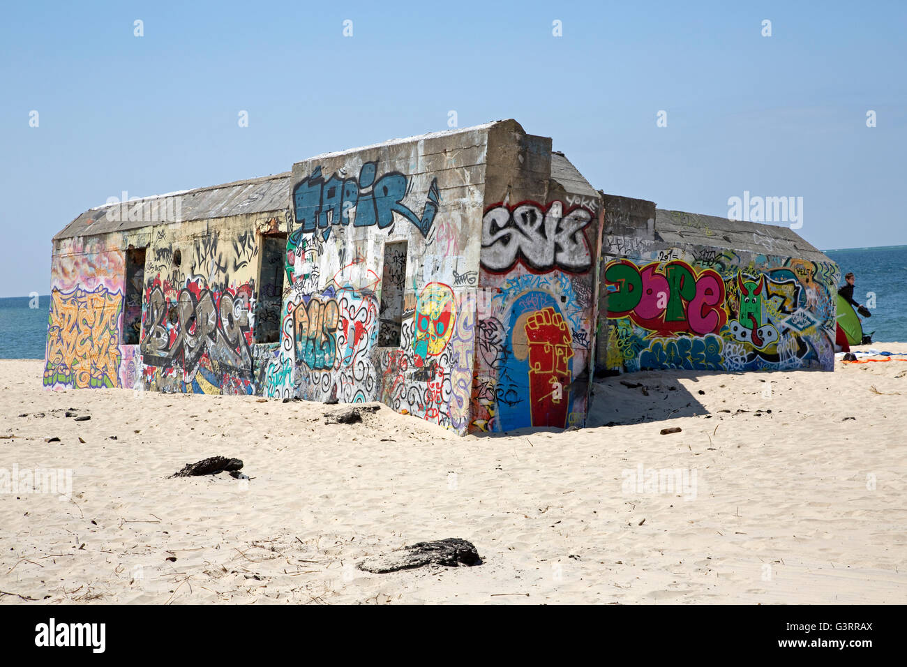Coastal fortifications covered in graffiti Dune of Pyla Southern France - Stock Image