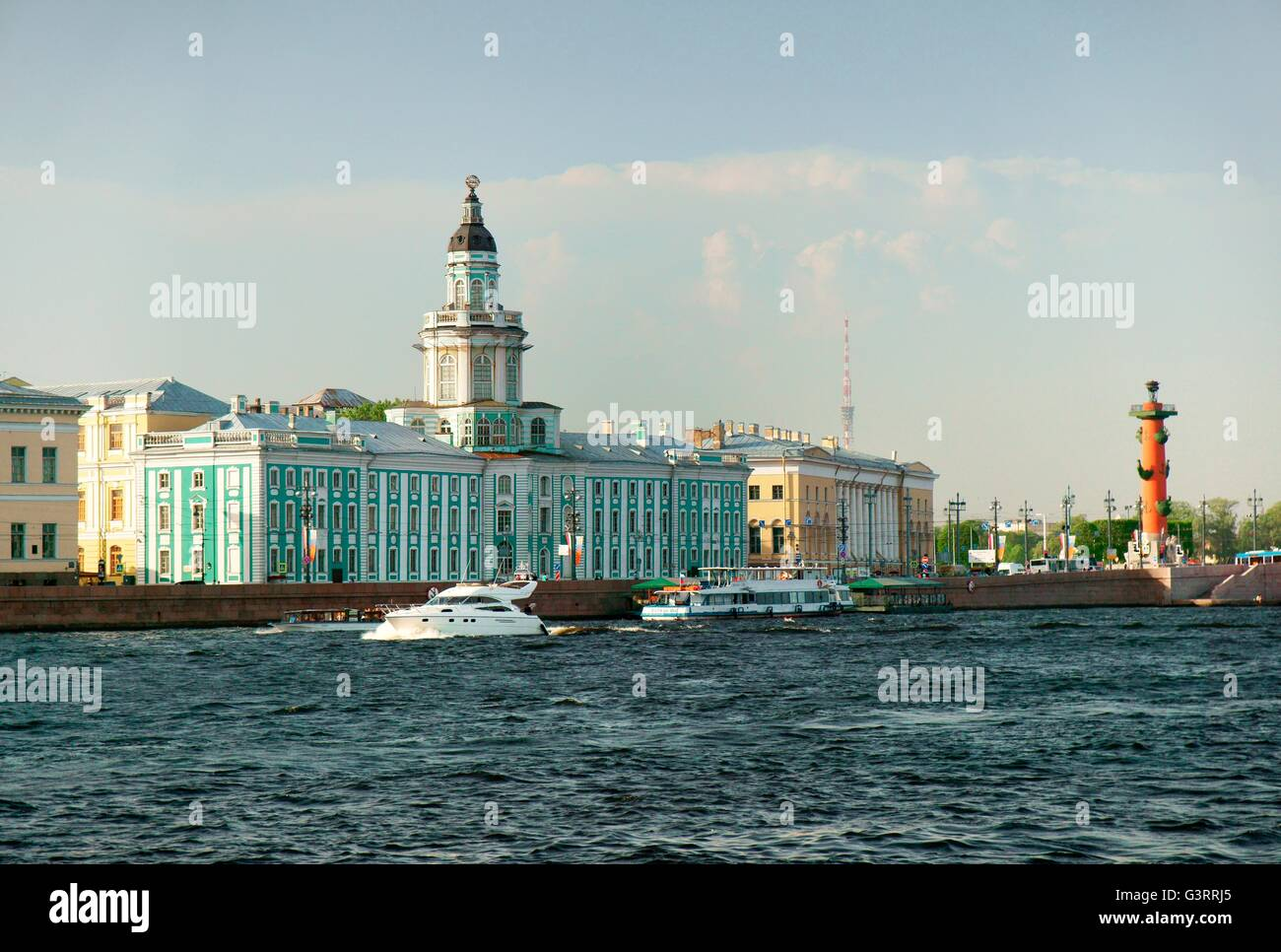 Saint Petersburg Russia. The blue Kunstkammer building, Zoologogical Museum and Rostral Column. Vasilevskiy Island - Stock Image