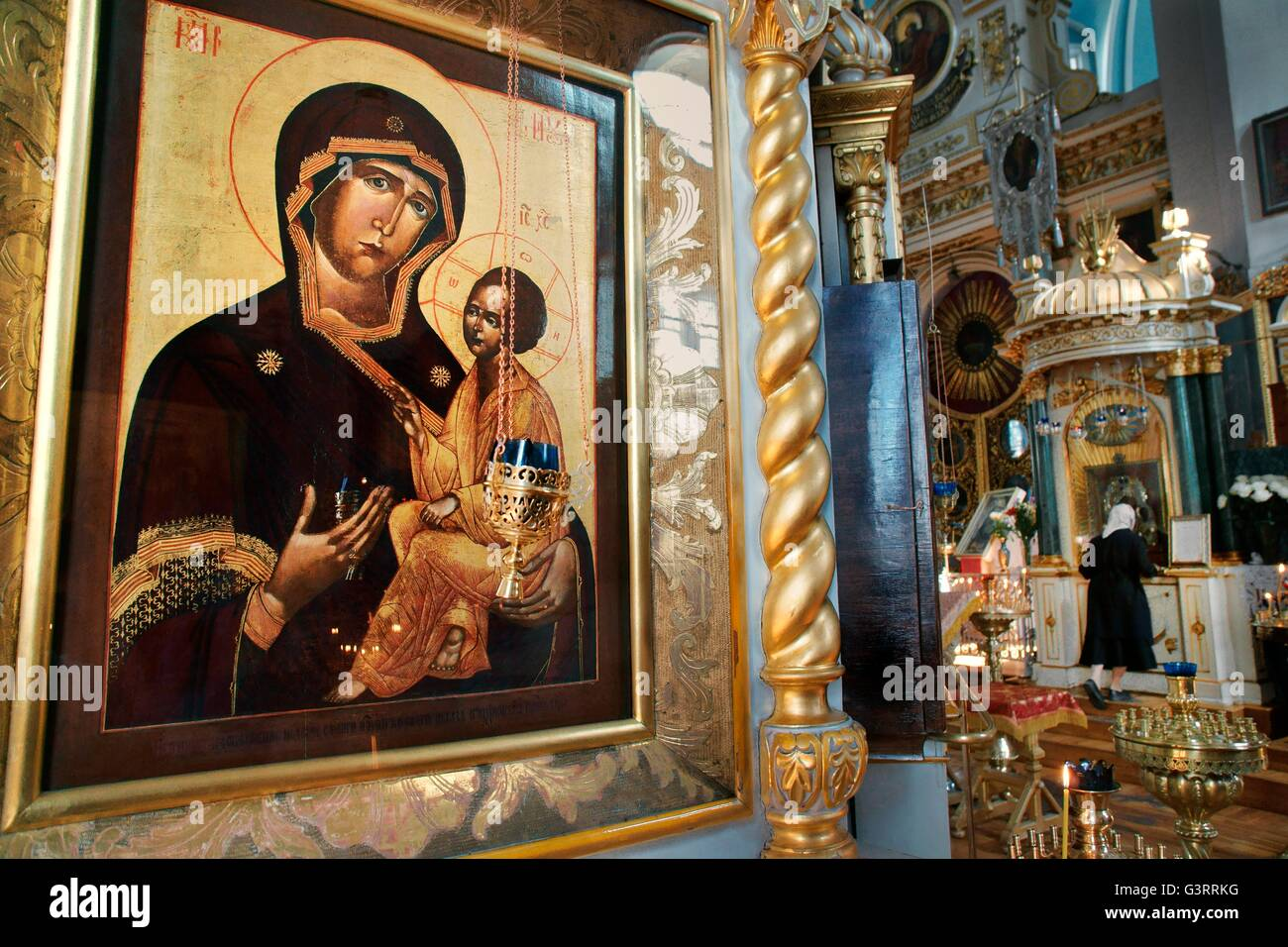 Saint Petersburg Russia. Saint Vladimir's Cathedral interior. Russian Christian Orthodox art Icon of Madonna and - Stock Image