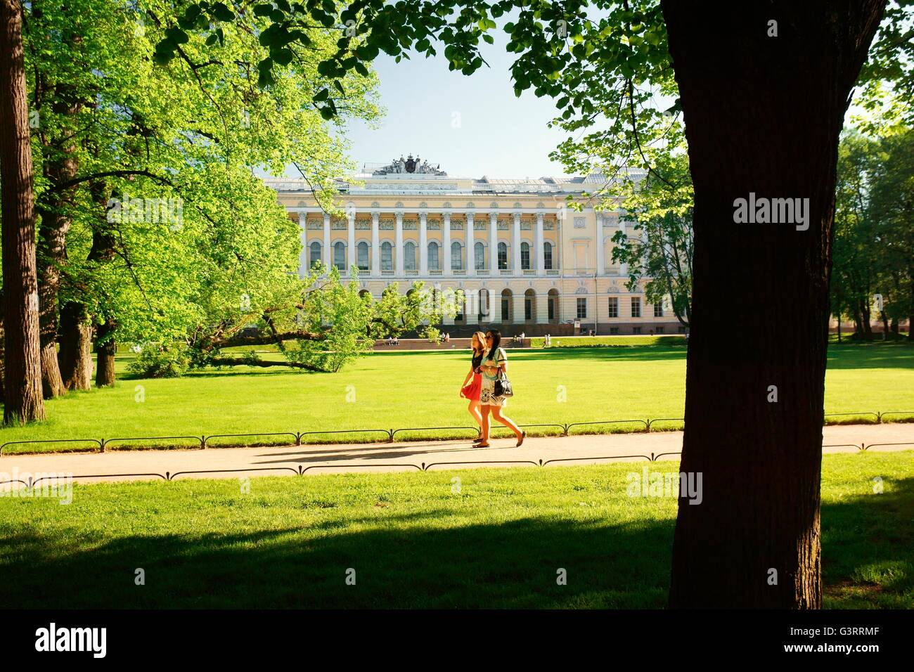 Saint Petersburg Russia. The Mikhailovsky Palace houses the Russian Museum. Seen from the Mikhailovsky Gardens Stock Photo