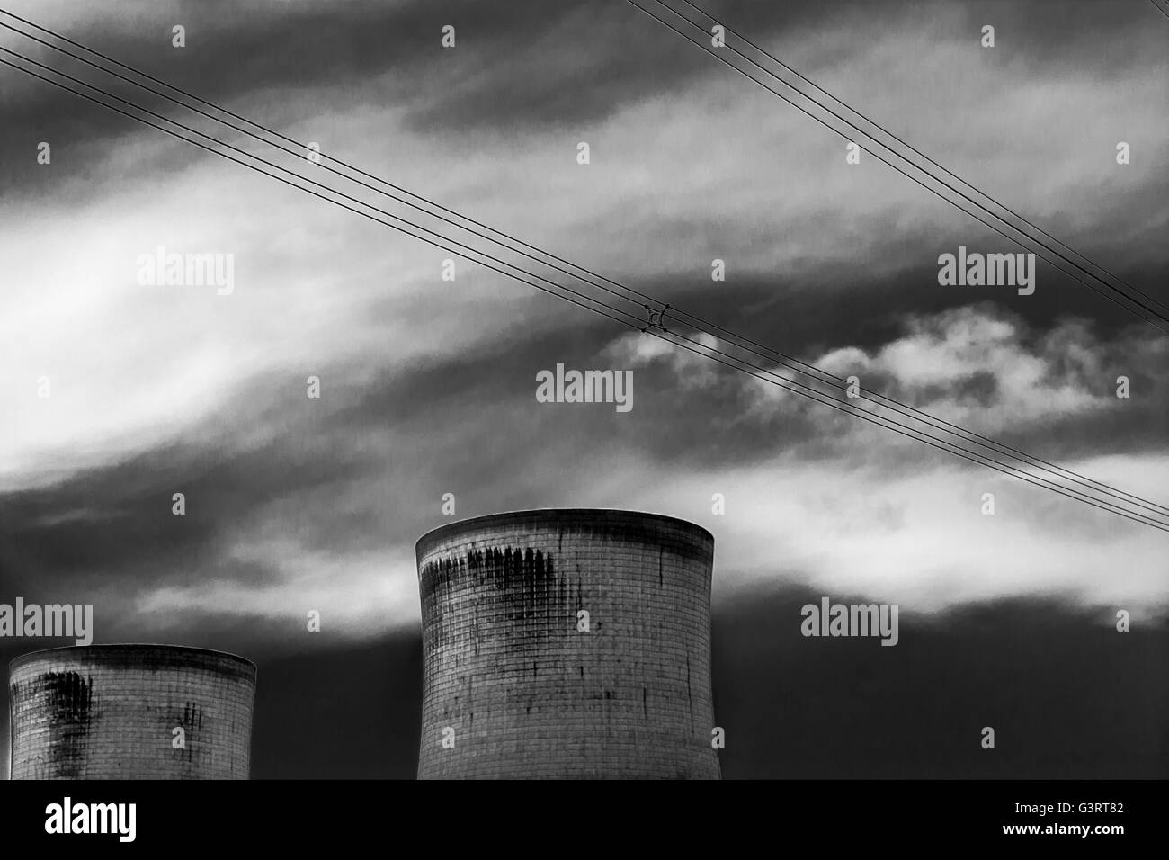 Power Station cooling towers in black and white - Stock Image