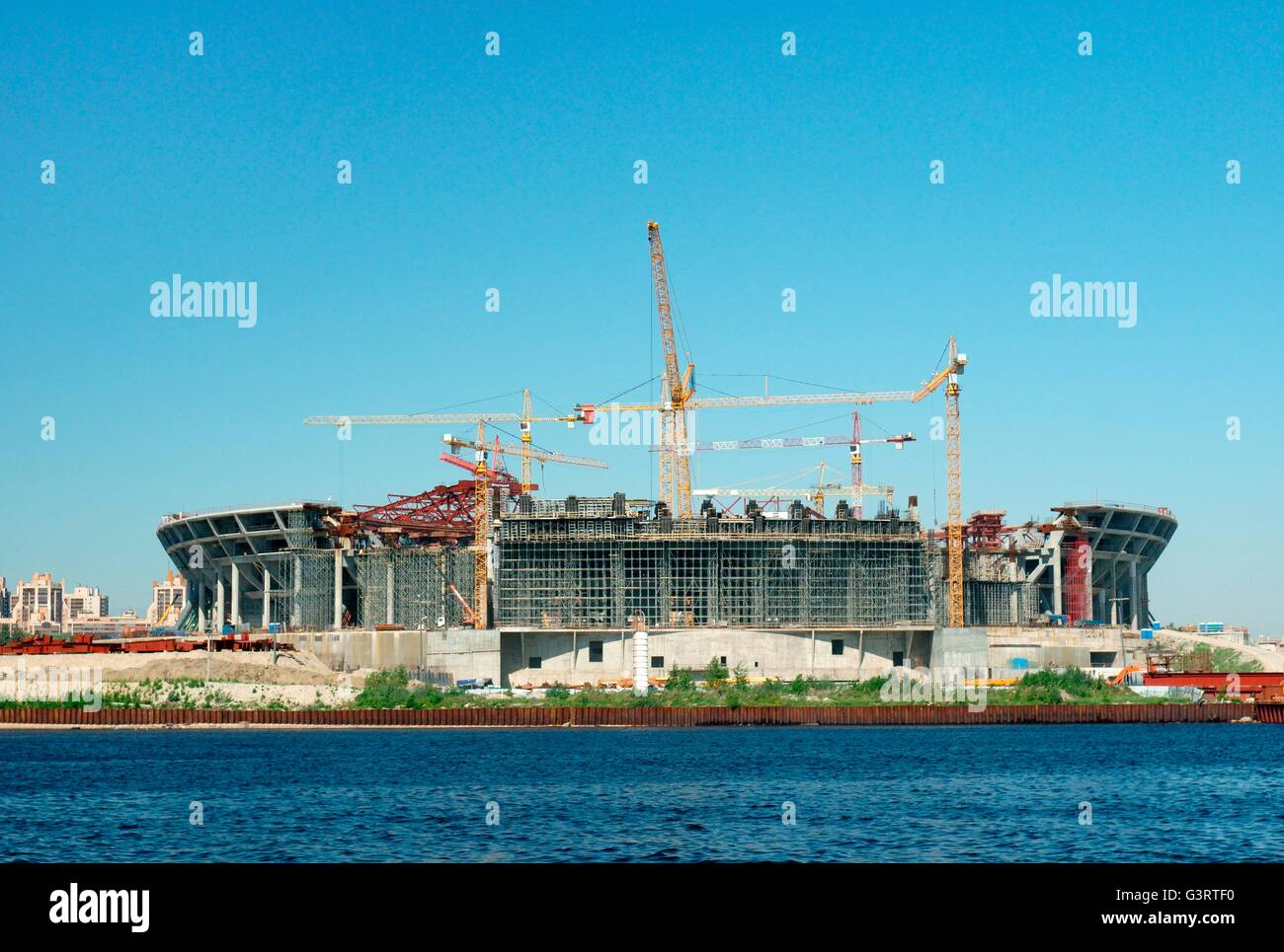 Russia, St. Petersburg. The New Zenit football stadium under construction May 2014 on Krestovsky Island - Stock Image