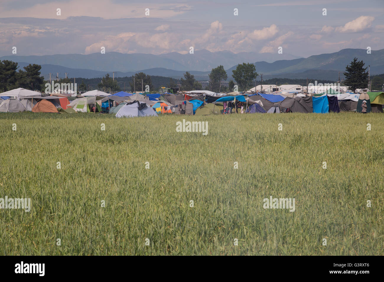Landscape shot of the entrance to the Idomeni refugee camp for Syrian refugees in Greece, near the Macedonian border. - Stock Image
