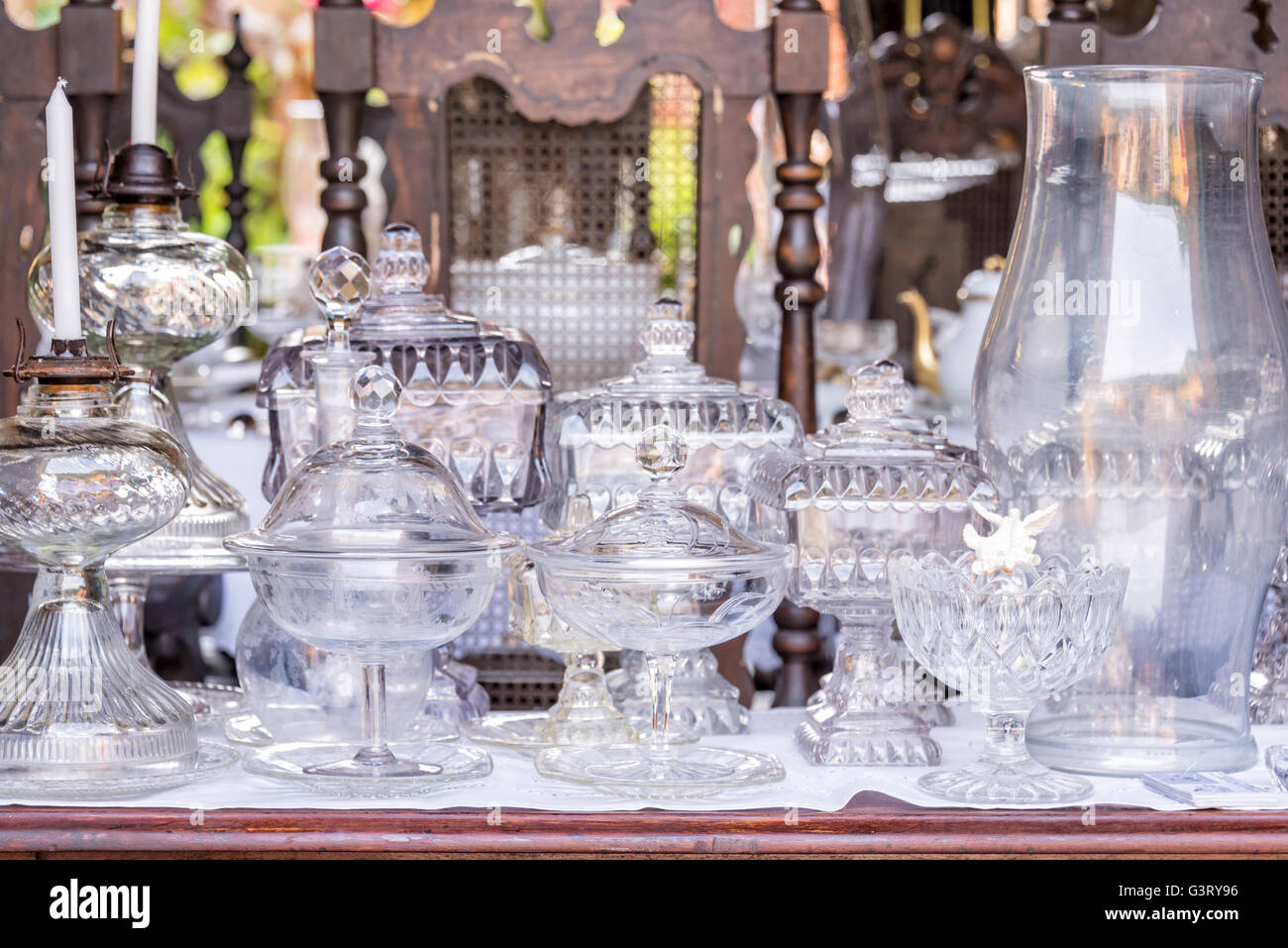 Vintage antique white glassware - Stock Image