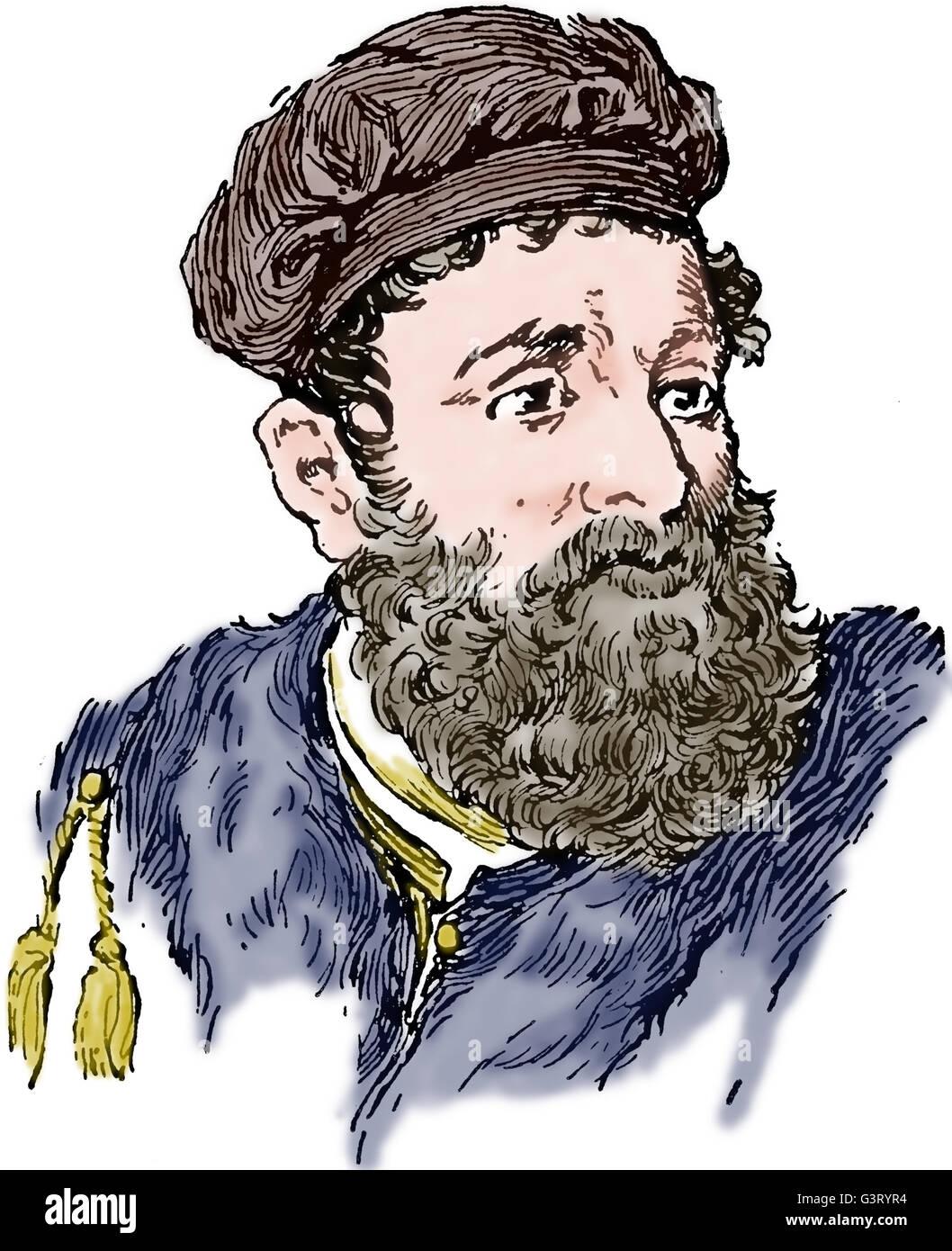 Marco Polo (1254-1324). Venetian merchant traveller. Engraving. Portrait. Color. 19th c. - Stock Image