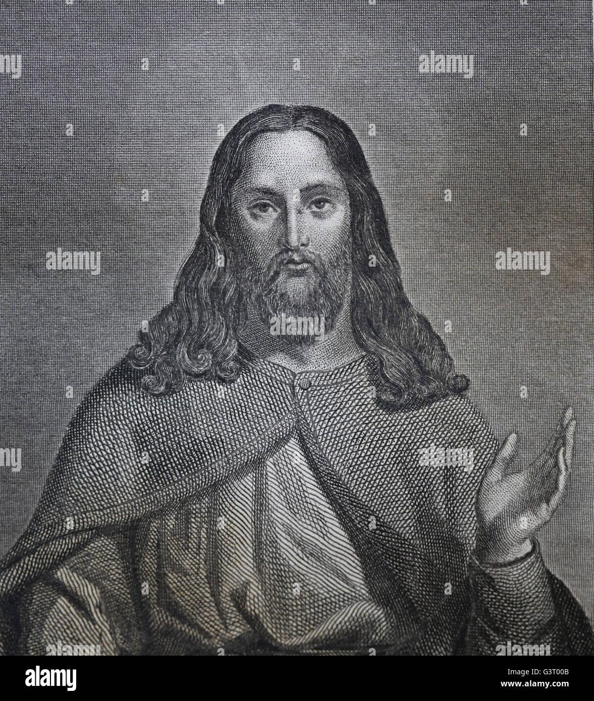 Christ. Portrait. Engraving, 19th century. - Stock Image