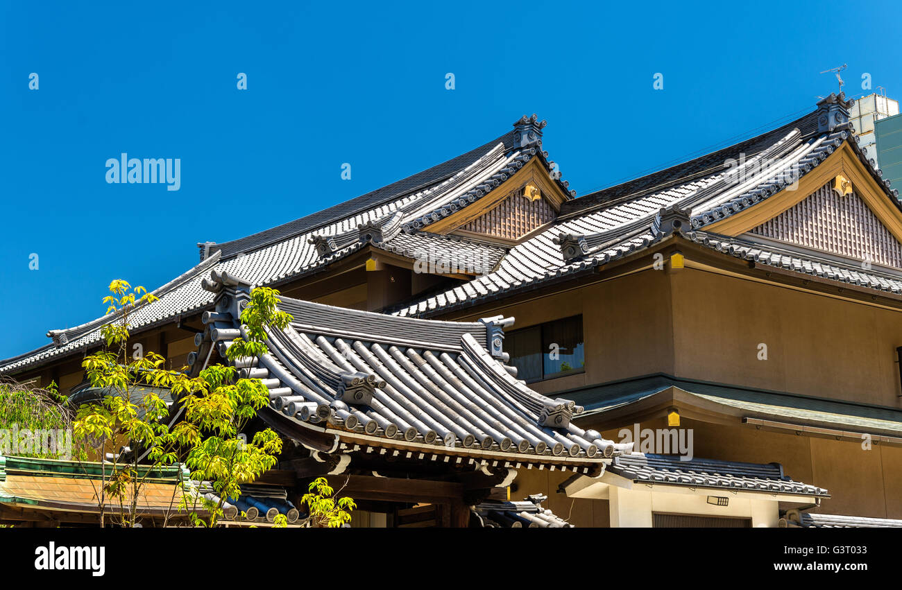 Roofs of a shinto shrine in Nara - Stock Image