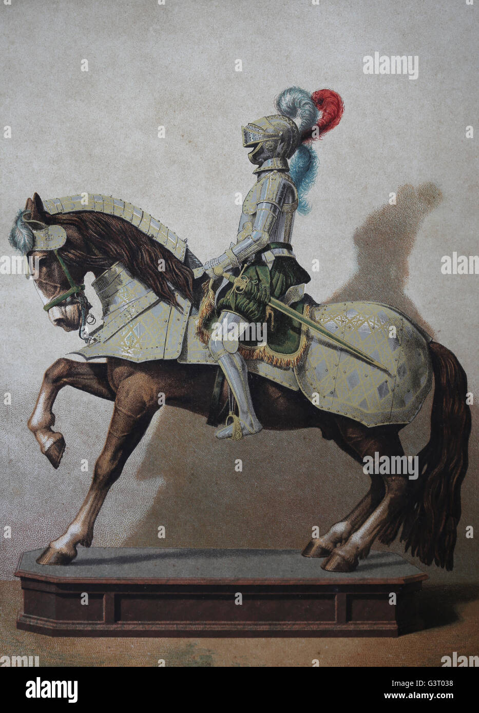 Equestrian armor of king of Spain Philip II (1527-1598). General history of Spain. Montaner y Simon Editor, 1879. Stock Photo