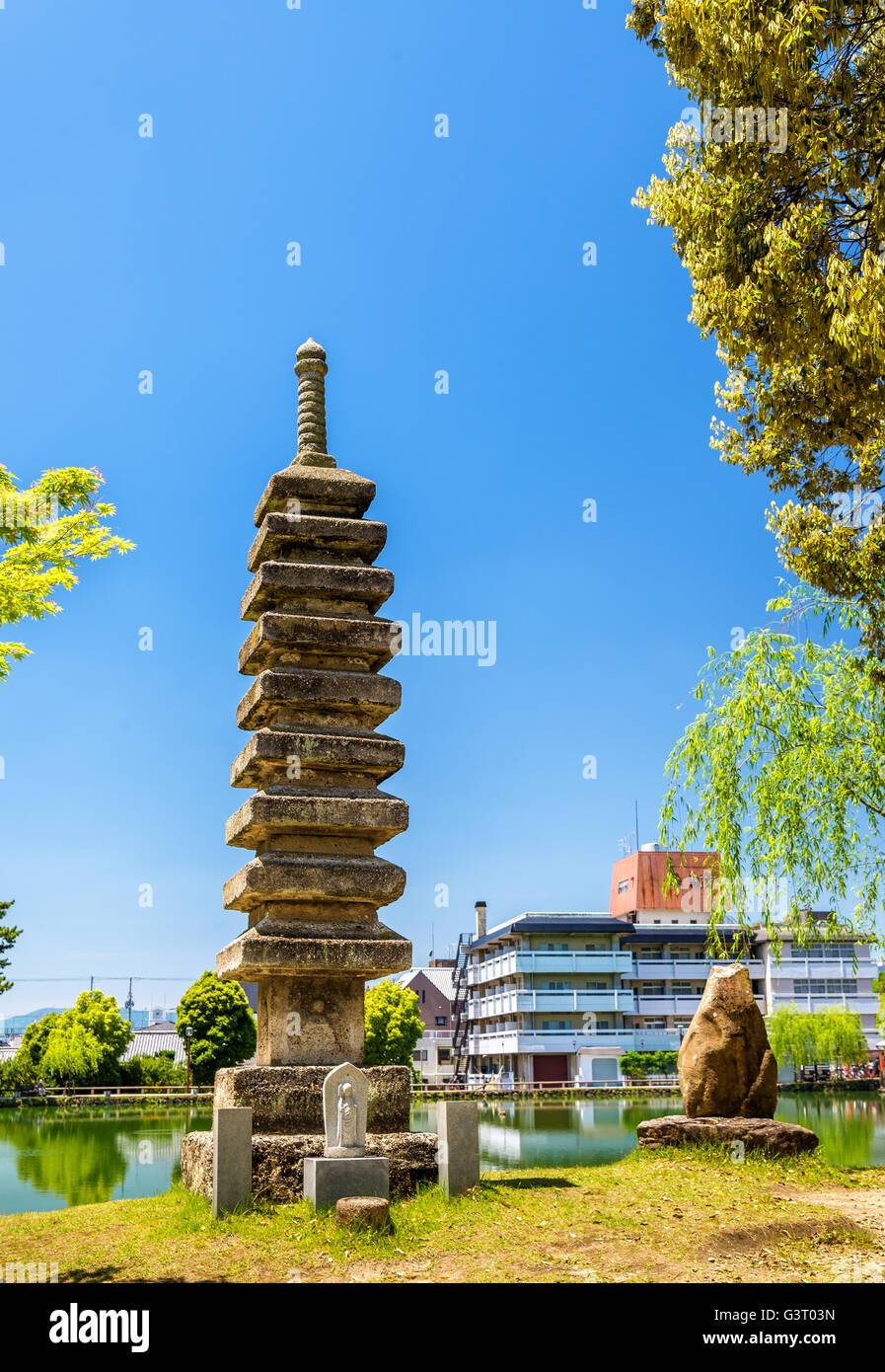 Old Stone Pagoda in Nara - Stock Image