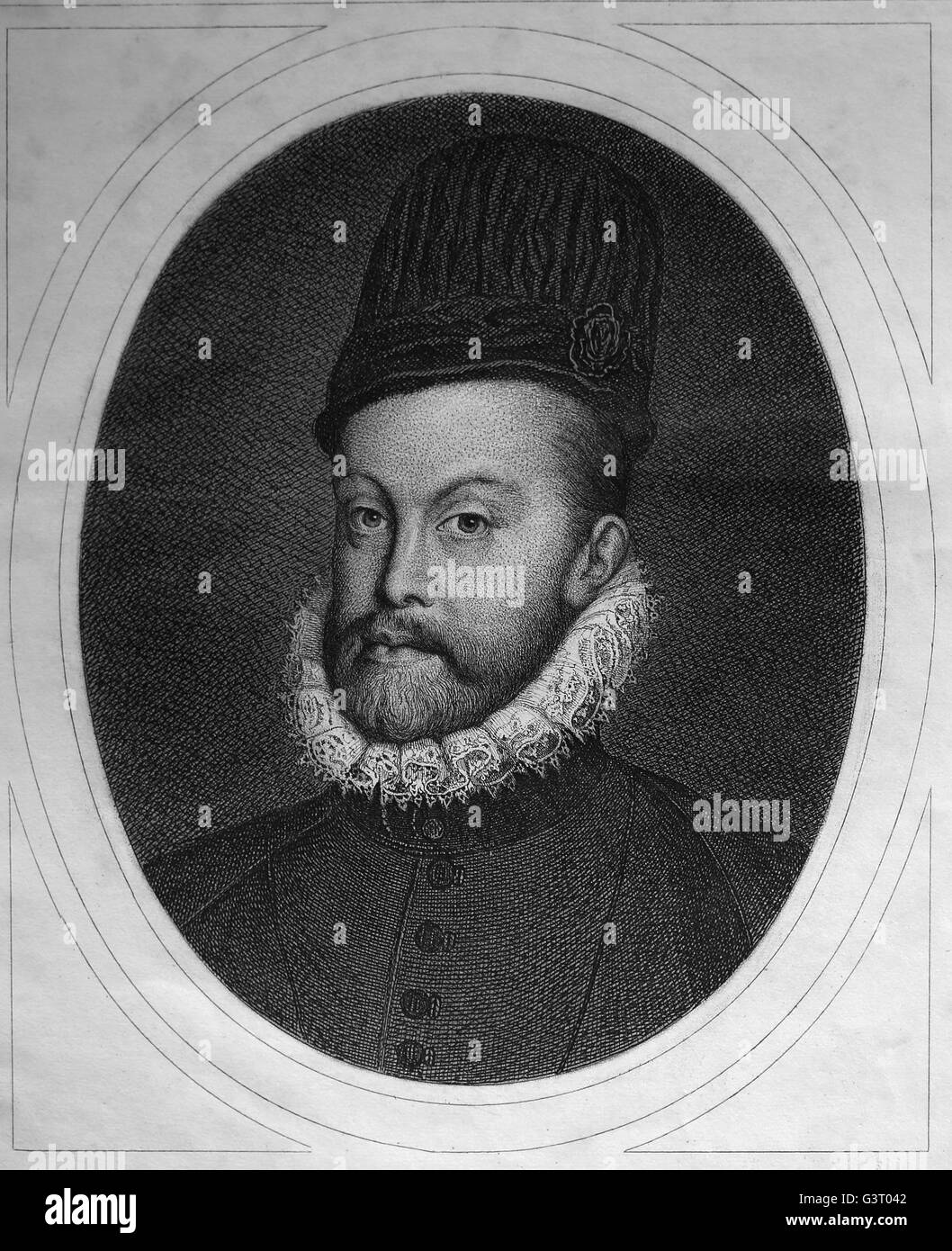 Philip II (1527-1598). King of Spain and Naples. Portrait. Engraving. General History of Spain, by Modesto Lafuente, Stock Photo