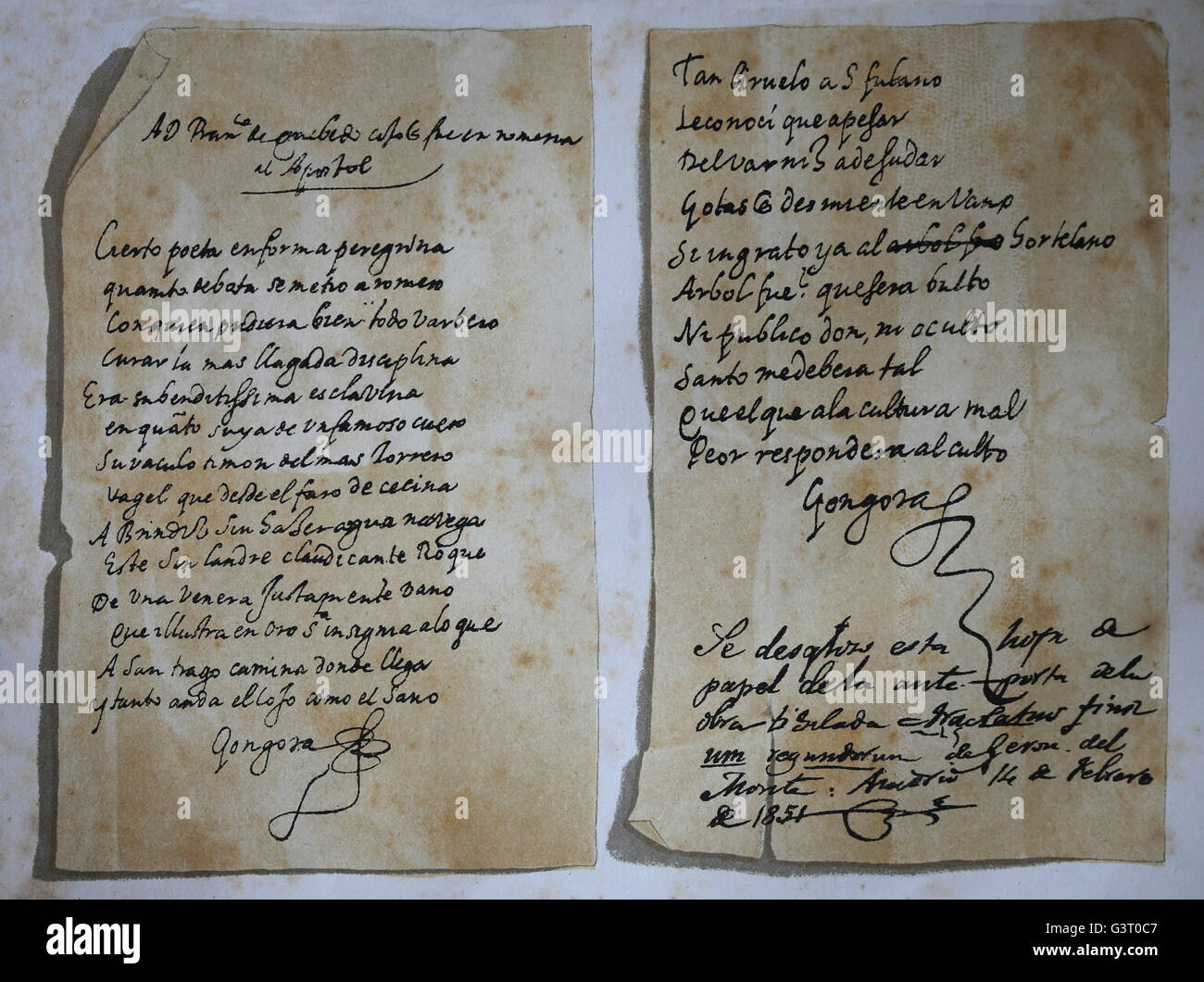 Autograph of Spanish Baroque Luis de Gongora(1561-1627). Lithograply. General History of Spain,1879. - Stock Image