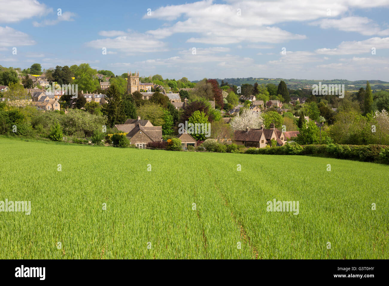 View over Cotswold village where TV series Father Brown is filmed, Blockley, Cotswolds, Gloucestershire, England, - Stock Image