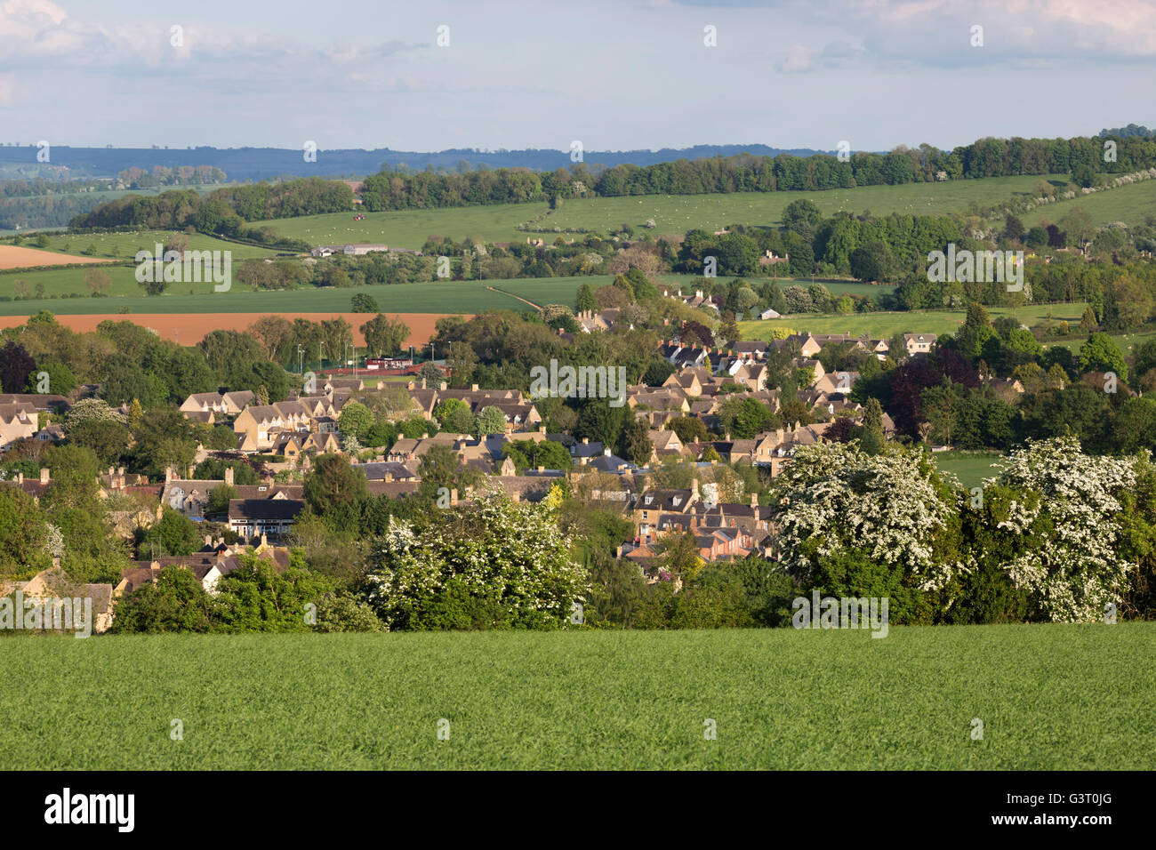 View over Cotswold town and landscape, Chipping Campden, Cotswolds, Gloucestershire, England, United Kingdom, Europe - Stock Image